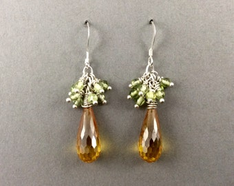 Crystal Earrings In SIlver With Golden Yellow Cubic Zirconia Clusters Of Peridot And Cubic Zirconia Teardrops