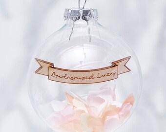 Personalised Bridesmaid Confetti Bauble