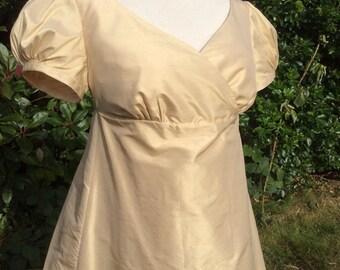 Regency Dress, Ball Gown. Jane Austen. Champagne Cream Pure SILK