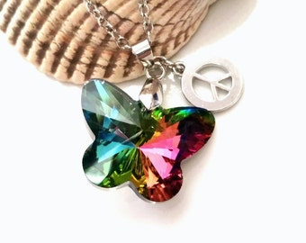 Iridescent Butterfly Necklace Peace Sign Jewelry Hippie Teen Girls Tween Jewelry Gift
