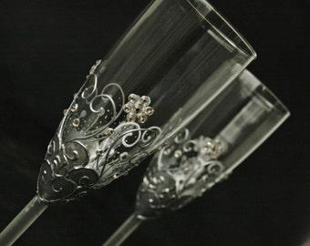 Champagne Glasses, Wedding Glasses, Silver Glasses, Vintage Glasses, Hand Painted, Set of 2
