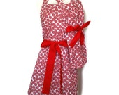 Matching Mommy and Me Peppermint Candy Apron Set, Mother Daughter aprons, Red Ties, Aprons for Women Children toddlers, Valentines Day apron