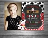SALE Cow Birthday Invitation, Printable File, Moo Invitation, Red Gingham, Pink Bandana, Cow Print, Little Cow, Chalkboard, Photo Invitation