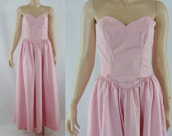 SALE Vintage Eighties Dress -  1980s Strapless Gown - Pink Moiré Full Skirt Gown - XS Party Dress - Strapless Dress