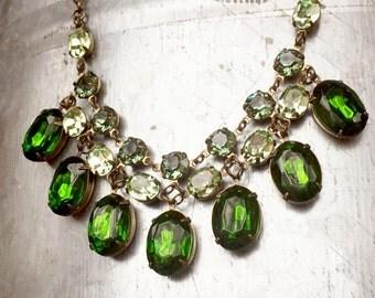 Rhinestone Statement Necklace, Bib Necklace, Green Necklace, Irish Necklace, Bridal Necklace, Vintage Necklace, Emerald, Tourmaline