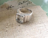 Mid Century Modern Style Jewelry, Vintage Silver Ring, Geometric Design Ring, size 6