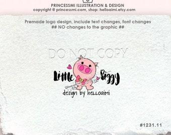 1231-11 pig logo, Premade Logo Design custom logo design / cute piggy photography logo business logo boutique design by princessmi