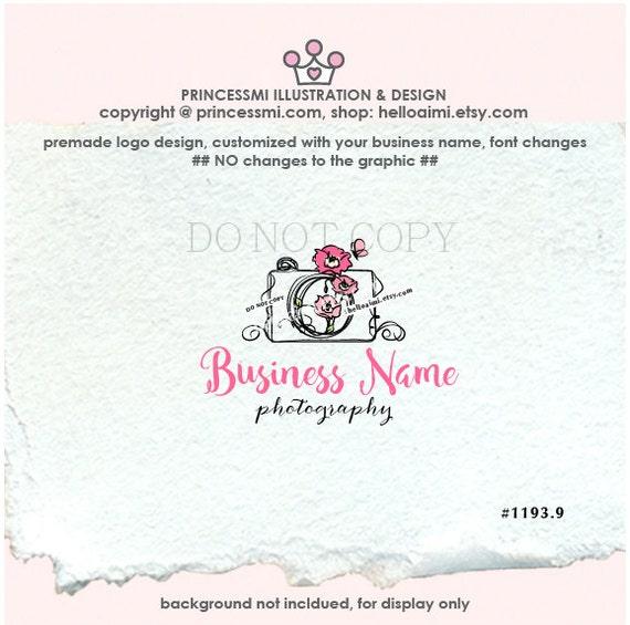 1193-9 Poppies and Camera logo, Premade Logo Design - photography logo, camera design Poppy , poppies watermark design