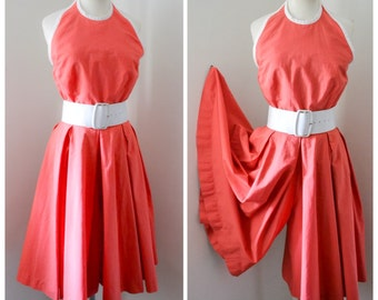 1940s Coral red cotton halterneck Cullote romper / 40s sun suit beach pyjamas - XS