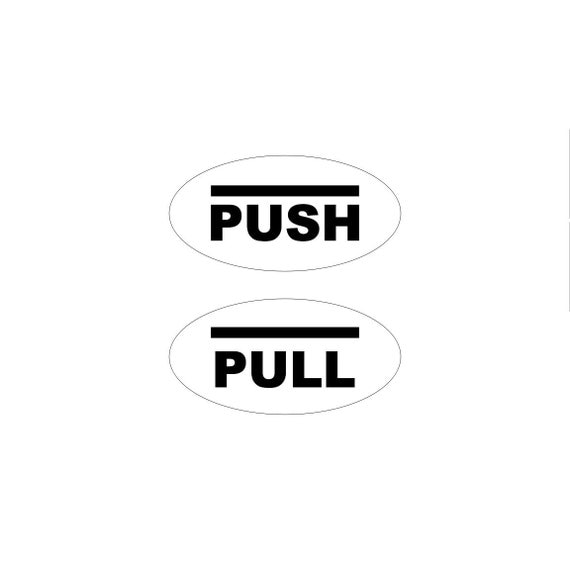 Oval push pull sign / enter sign / closed sign / enter sign / exit sign / rectangle / simple design
