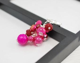 Pink Handbag Charm, Beaded Purse Charm, Purse Charm, Beaded Charm, Dark Pink, Gift For Her, Handbag Charm, Bag Charm, Beaded Bag Charm