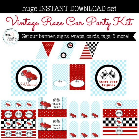 Vintage Race Car Birthday Decorations - Race Car Party Decorations ...