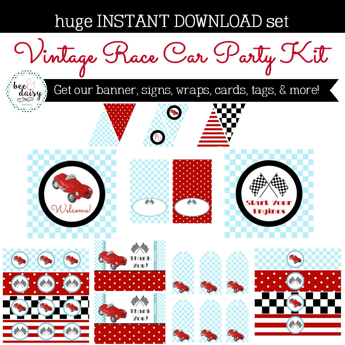 vintage race car birthday party race car baby shower