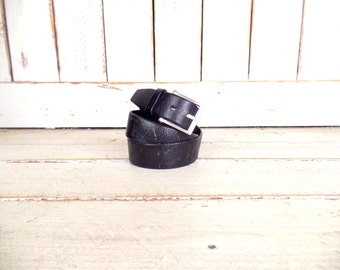 90s vintage thick black distressed leather belt/wide leather belt/mens distressed leather belt