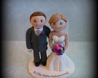 Wedding Cake Topper, Custom Cake Topper, Personalized, Bride and Groom, Polymer Clay Keepsake