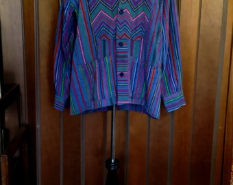 Viintage 60s 70s Mod Mens Large Shirt Jacket Stripes and Chevron Hippie Woven Cotton Heavy Weight