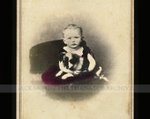 Very Cute 1860s CDV Photo Little Ohio Boy with His Puppy Dog ~ Hand Tinted
