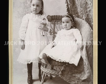 Cabinet Card Photo / Little Shelburne Massachusetts Girls with Porcelain Doll