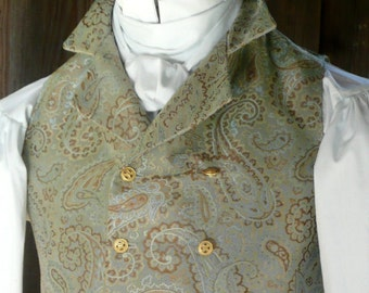 Mans English Regency Double Breasted Vest Wedding Groom Waistcoat French Empire