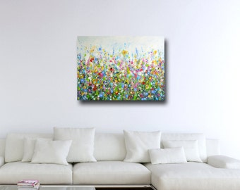 Large Wall Art, Canvas Art, Abstract Floral Meadow Canvas Print, Giclee Print, Large Floral Art Painting, Canvas Print, Flower Meadow Art