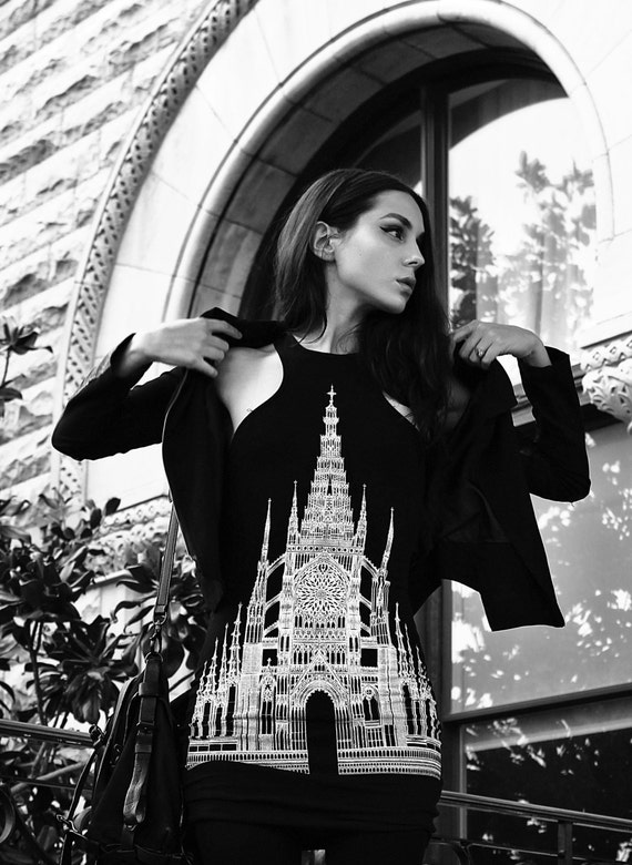 Gothic Architecture Cathderal Church Illustrated Dark Printed Black & White Fantasy Limited Edition Art mini dress size S-L