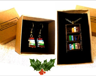 Christmas Special - Antique Bookshelf Necklace and Earrings Set