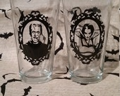 Munsters inspired herman and lilly pub glasses
