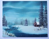 Bob Ross Style Oil Painting Landscape Cabin Alaska Wilderness Snow Winter 16x20