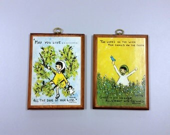Little Girl Set of Two Quotes Wooden Plaques