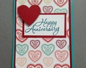 Happy Anniversary Card, Handmade Anniversary Card, Hearts Card, Love Card, Red and Teal Card, Annie's Paper Garden