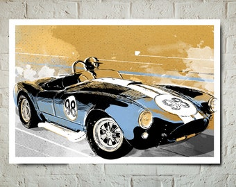 Car Art - Ford Shelby Cobra 427 - Auto Art, Automobile Art, Automotive Decor, Man Cave Art, Car Gift, Art Print, Race Car Poster, Garage Art