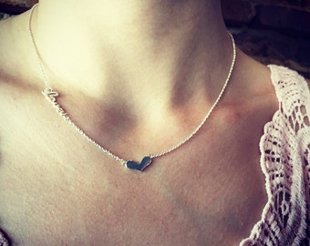 Sterling Silver Love and Heart Necklace