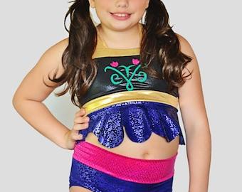 Girls Anna Frozen inspired Swim Suit