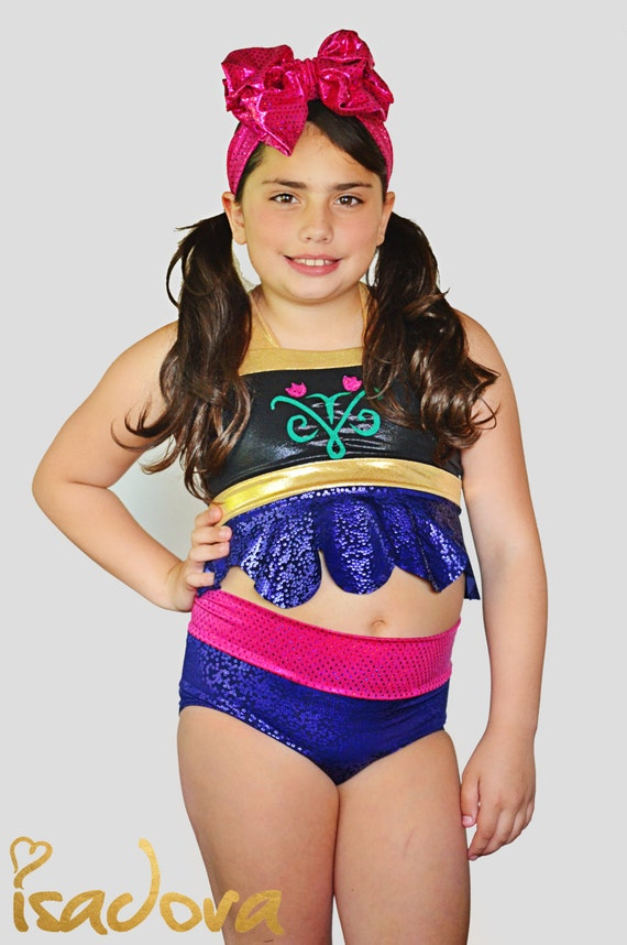 Girls Anna Frozen Inspired Swim Suit