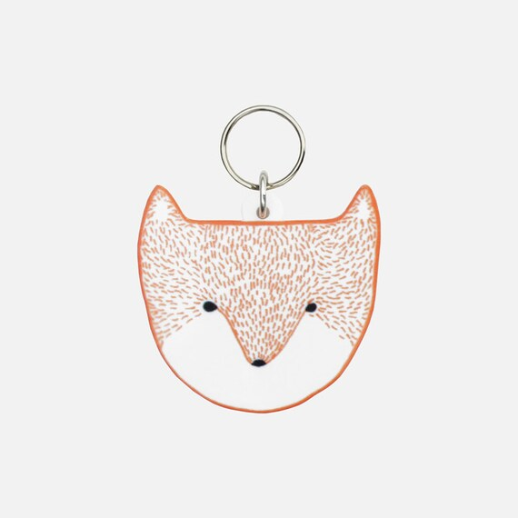 Fox Head Keyring / Keychain - laser cut acrylic charm white bright orange animal wolf mothers day birthday gift Christmas stocking filler