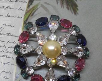 Colorful Rhinestone Pin Wheel Crystal Brooch    MDH40