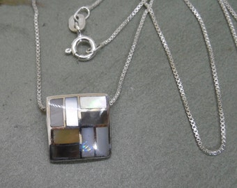 Abstract Mosaic Mother of Pearl & Sterling Pendant Necklace on Sterling Chain     MY37