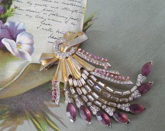 1940's Amethyst & Pink Rhinestone Bouquet Brooch    MMOM