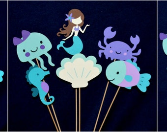 Teal & Purple Mermaid Centerpiece sticks YOU CREATE the set  Mermaid Birthday Under the Sea Baby Shower Mermaid Diaper Cake Table Decoration