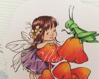 one-of-a-kind, 'you're special', daughter, faeirie card, hand coloured