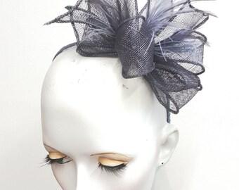 Grey gunmetal sinamay and feather fascinator headband fixing ideal weddings and races