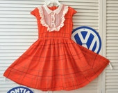 Vintage 50s Girls Dress/Orange-Red/Full Circle Skirt/Lace Trim Bodice/Dainty Togs/Costume Pageant Theater/Antique Child's Built in Petticoat