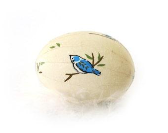 Easter Egg Japanese Washi - Ivory White with Blue Birds - Matte Finish