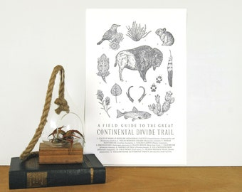 Continental Divide Trail Field Guide Letterpress Print