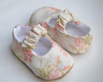 Floral baby girl shoes, green pink and blue soft sole shoes, flower baby booties