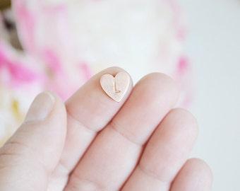 Copper Letter Stamped Heart Charm - Floating charm for inside locket