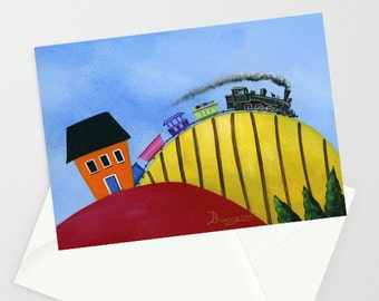 Train from Hilly Habitat - Folk Art Greeting Card - Steam Engine Train rounding the hill
