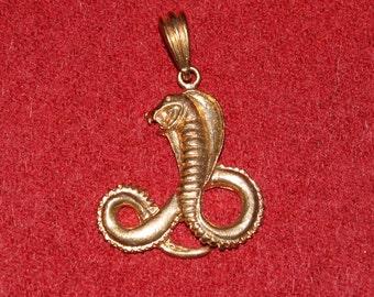 Vintage Gold Tone King Cobra Pendant