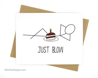 Funny Card, Just Blow, Boyfriend Card, Birthday, Love Gift, Anniversary, Naughty Card, Congratulations, Thinking of You, Slice of Cake