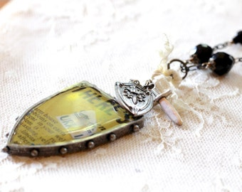 Large mixed media yellow shield pendant necklace, sword charm, lace, black beads, long necklace, statement necklace, Shield and Protect